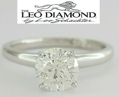 1.04 ct 14k White Gold & Platinum Leo Round Diamond Solitaire Engagement Ring