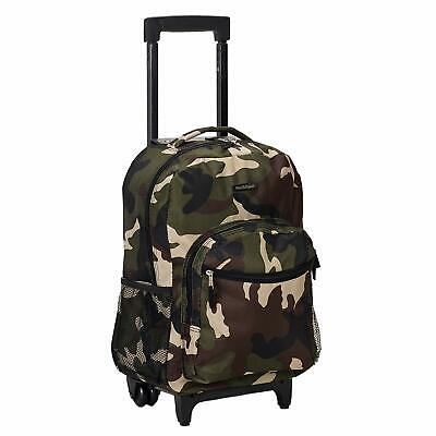 Luggage 17 Inch Rolling Backpack Wheeled School Travel Bag Carry-on Camo