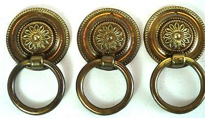 Solid Brass x 3 Cabinet Fitting Round Draw Pull Handles Floral Victorian Vintage