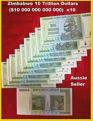 10 X Zimbabwe Banknote 10 Trillion Dollar  Real Bank Note 100 Trillion Aa 2008