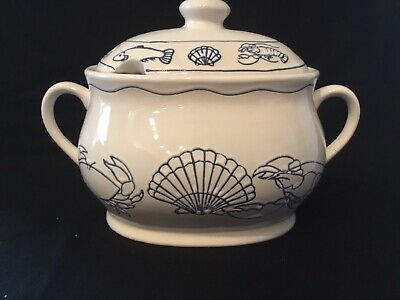 Nantucket Pottery Soup Tureen Blue & White With Lobsters, Crabs, Scallops & Fish