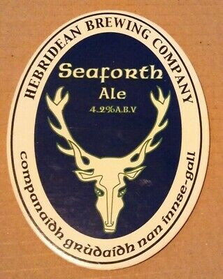 Beer pump clip badge front HEBRIDEAN brewery SEAFORTH ALE cask ale Scotland