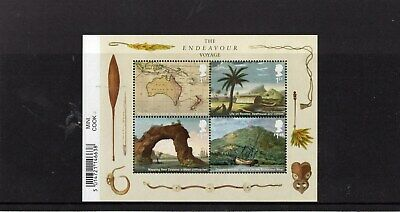 CAPTAIN COOK ENDEAVOUR VOYAGE 2018 Stamp Mini Sheet Mint - WITH BARCODE MARGIN