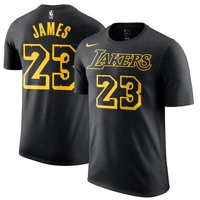 d8751208af9a 2018 Nike Los Angeles Lakers LeBron James Name   Number Dri-FIT Player T-
