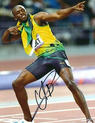 USAIN BOLT SIGNED 8x10 PHOTO 3 - UACC & AFTAL RD AUTOGRAPH - 100M OLYMPIC GOLD