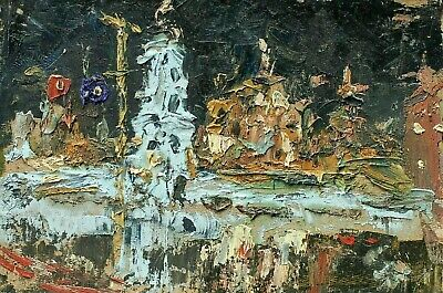 Expressionist modernist cityscape night Kyiv oil painting ukrainian modern art