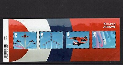 RAF RED ARROWS 2018 Stamp Mini Sheet Mint - WITH BARCODE MARGIN . **SALE**