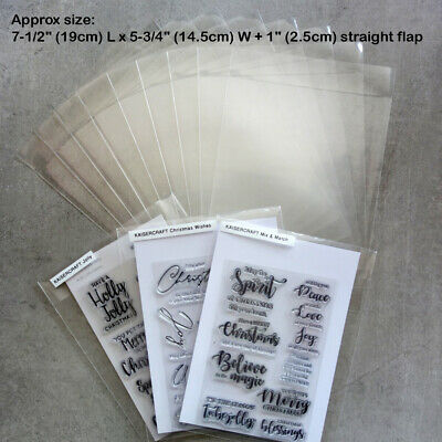 """*SPECIAL* 200 xLG STAMP DIE STORAGE POCKETS STRAIGHT FLAP 7-1/2x5-3/4+1"""" 100 MIC"""
