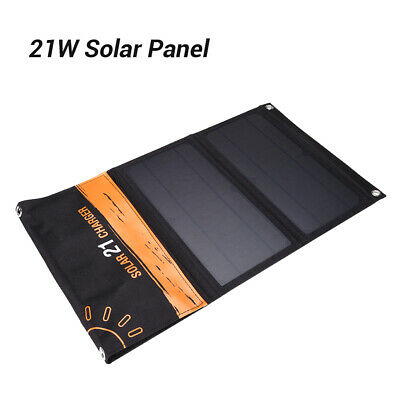 Solar Charger 5V 21W Solar Panel with Dual USB Port Foldable for Smartphones