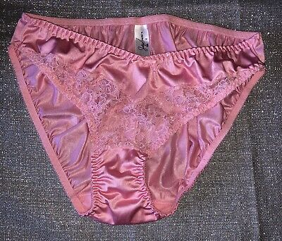NOS VTG Jaclyn Smith Satin Hi-Cut Lace Brief Panties Size 6 Pink USA Union Made