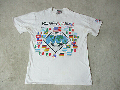 aa16e08e5 VINTAGE World Cup Shirt Adult Medium White USA 1994 Soccer Futbol Mens 90s