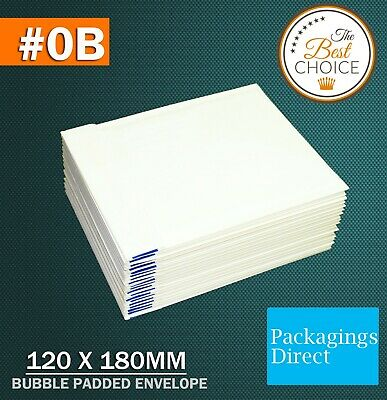 200x Bubble Envelope #0B 120x180mm - White Plain - Padded Bag Mailer SIZE 0B