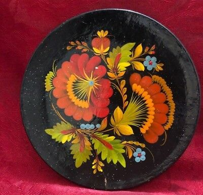 """VTG Russian Folk Art Plate Hand Painted Black Lacquer Red Yellow Flowers 8"""""""