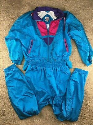 Vintage Rock Creek Casuals Womens L Blue Windbreaker Track Suit Jacket Pants Set
