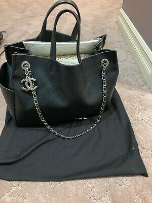 76022219ae56 CHANEL GRAINED CALFSKIN CC Pocket Tote  Large Shopping Bag In Black ...
