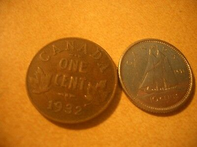 CANADA 2 COINS 1932x1cent 1971x10 cent