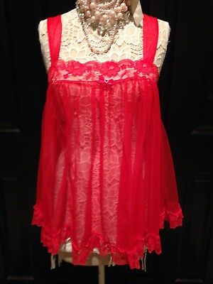 VTG BABYDOLL~FRILLY SEXY DELICATES RED Nightie Nightgown Lingerie~RUFFLE~LARGE L