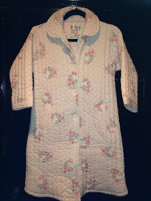 Vintage HELLO KITTY~FAIR LADY Japan Style Childs Quilted Robe~Pink Size 12 VTG