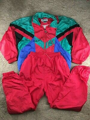 Vintage Casual Isle Windbreaker L Track Suit Jacket Pants Set Red Green Blue