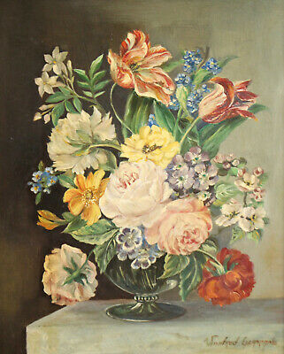 Beautiful Large Floral Still Life Oil Painting on Board