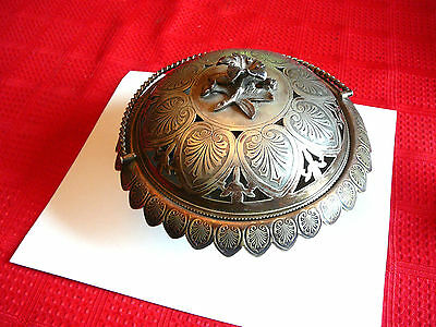 Antique Victorian Silver Plate Figural Flower Butter Dish
