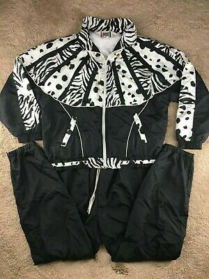 Vintage EVR DIV Windbreaker L Track Suit Jacket Pants Set Zebra Leopard Stripes