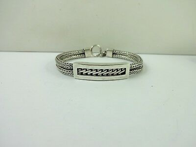 """Sterling Silver Beautiful Wheat Link Open Work Two Strand Toggle Bracelet 7.5"""""""