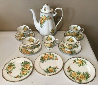Royal Albert Tea Rose Yellow Coffee Pot, Teacups, Saucers, B&B Plates Excellent