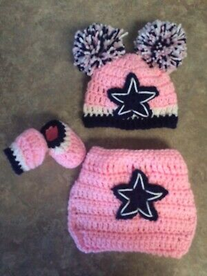 Crochet Newborn 3 Month Pink Dallas Cowboys Hat Booties Diaper