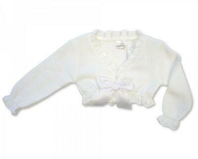 Spanish Knitwear Baby Girls Bolero Cardigan-Soft Pink NB,0-3,3-6mth-SO cute!