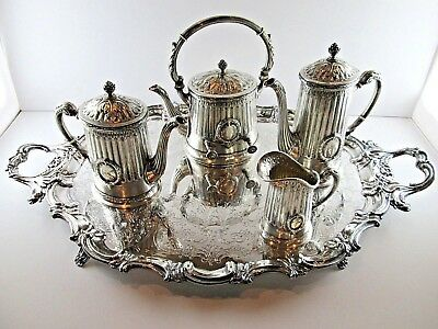 Antique German 800 Silver Coffee Tea Service Set + Tray