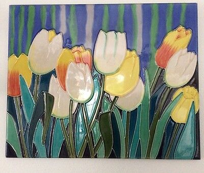 "Art Nouveau Tube-Lined Tile Art ""Tulips"""