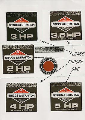Briggs & Stratton Black Vintage Minibike Repro Engine Decals