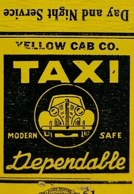 VINTAGE MATCHBOOK COVER Yellow Cab Company Lorain Ohio four digit phone D