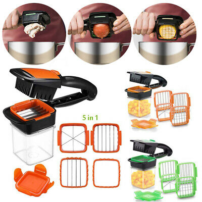 1Pcs Stainless Steel 5-in1 Nicer Quick Dicer Fruit Vegetable Cutter Set Chopper