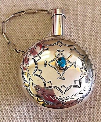 Turquoise in Stamped Sterling Silver Tobacco Canteen Flask