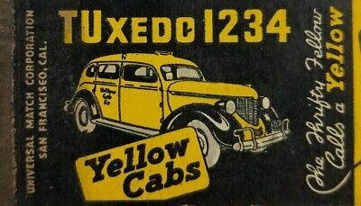VINTAGE MATCHBOOK COVER Yellow Cab Company Lorain Ohio four digit