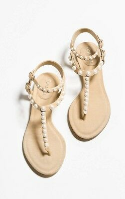f947bcedaa CHANEL FLAT SANDALS 38.5 Slingback US 6 Mother of Pearls Camellia ...
