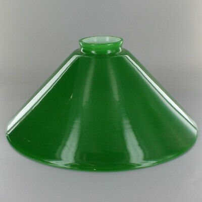 """10"""" ~ GREEN Cased Glass ~ Hanging Lamp ~ CONE SHADE  ~ 2 1/4"""" Fitter"""