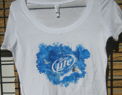 Ladies Miller LITE Beer T Shirt SUMMER Beach Top MD Surf Swim lake water boat