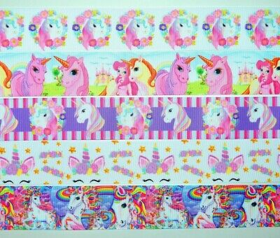 "Grosgrain Ribbon 5 yd Mixed Lot Unicorns Unicorn You Choose 7/8"" Or 1.5"" Printed"