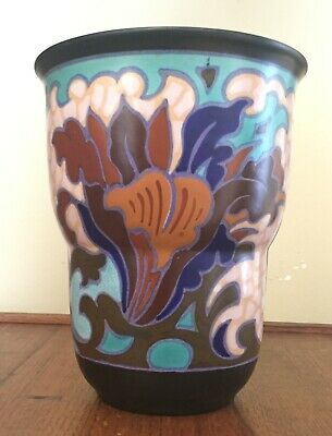 """1930 Pata Plazuid Gouda Wide-Mouthed Vase- Holland -Matte Black,Turquoise 7 5/8"""""""