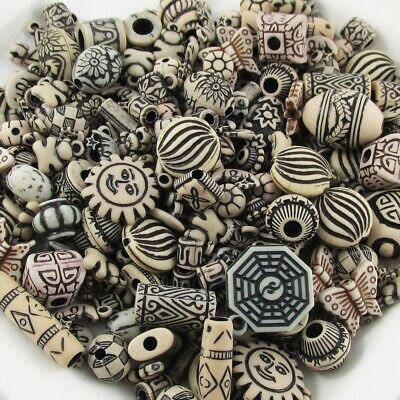 50pcs Wooden Look Acrylic Craft Beads Random Mix Great for Jewellery Making!