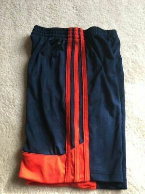 Boys size 6 ADIDAS Navy Blue & neon red 3 stripe athletic soccer shorts