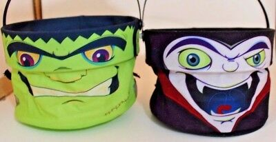 Two Kelloggs Trick Or Treat Pail Fold Down  Frankenstein Dracula Halloween 2008