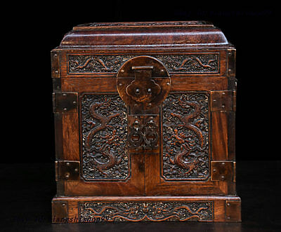 10 China Collect Huanghuali Wood handcrafted Two Dragon Drawer Chest Jewelry Box