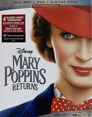 MARY POPPINS RETURNS ~ Blu-Ray + DVD + Digital *New *Factory Sealed