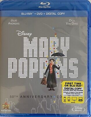 MARY POPPINS ~ Blu-Ray + DVD + Digital *New *Factory Sealed