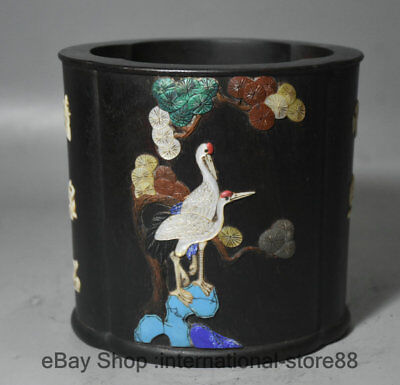 "5.6"" Old Chinese Redwood inlay Shell Palace Crane Pine Word Pencil Vase"