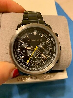 f55bcf980a18 BNWT Michael Kors Mens Theroux Chronograph Black Stainless Steel Watch MK  8643
